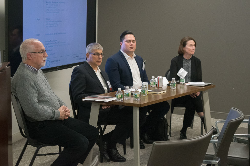 Jeff Bergstein, Bergstein Consulting; Larry Poster, Catalyx; Blake Adair, EpiBone; Mary Howard, Program Manager, ELabNYC