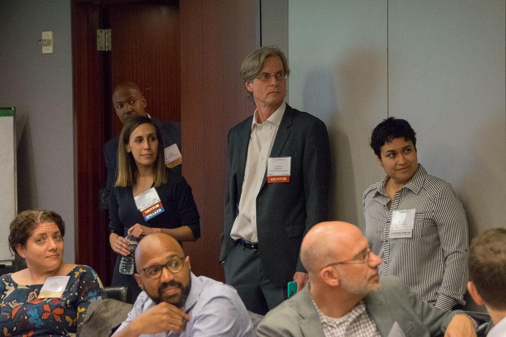 Sue Rosenthal, NYECDC (bottom left), Lauren Friedman, Alzheimer's Drug Discovery Foundation (top left), Lambert Edelmann, Synubi Pharmaceuticals (middle), Sonia Gonzalez, StudentBody (right corner)