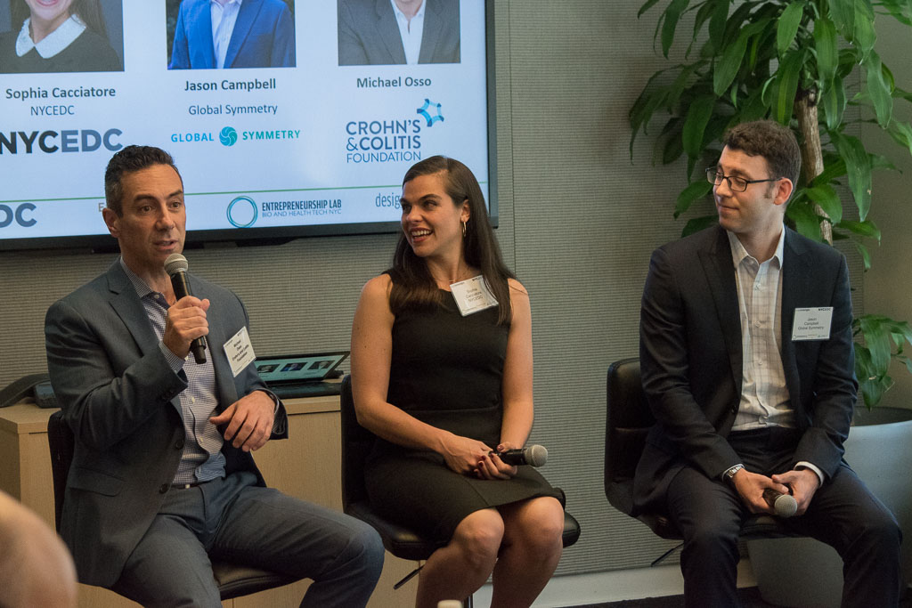 Michael Osso, Crohn's & Colitis Foundation's, Sophia Cacciatore, NYCEDC and Jason Campbell, Global Symmetry