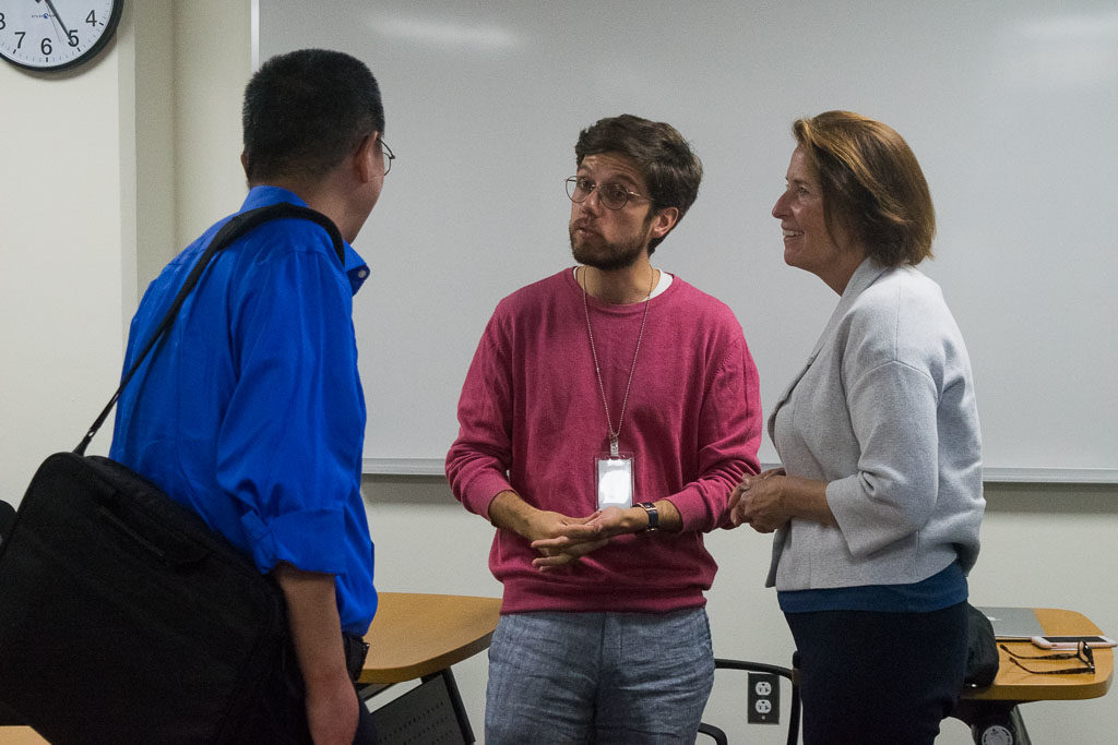 Dong Zhang, Einstein associate professor, Francisco Marques, Einstein graduate student and Mary Howard, ELabNYC program Director