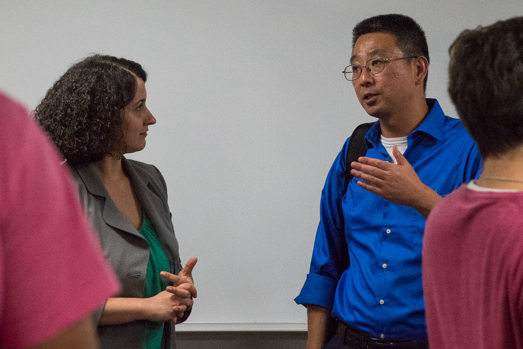 Janis Paradiso, Einstein Director, Office of Biotechnology and Business Development and Dong Zhang, Einstein associate professor